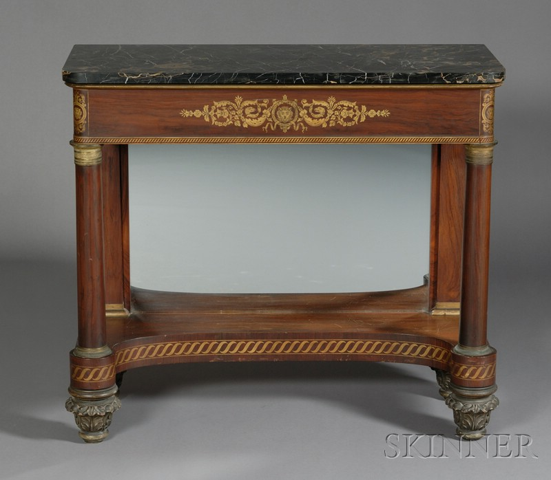 Pair of Classical Rosewood Veneer and Freehand Gilded Mirrored   Pier Tables