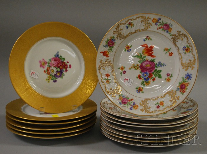 Two Sets of Bavarian Gilt and Floral-decorated Porcelain Dinner Plates