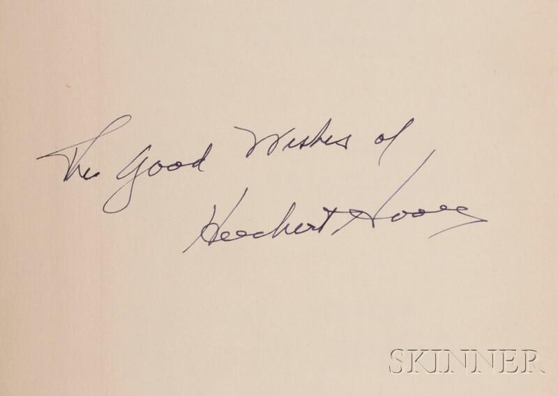 (Hoover, Herbert Clark (1874-1964)), Signed Copy