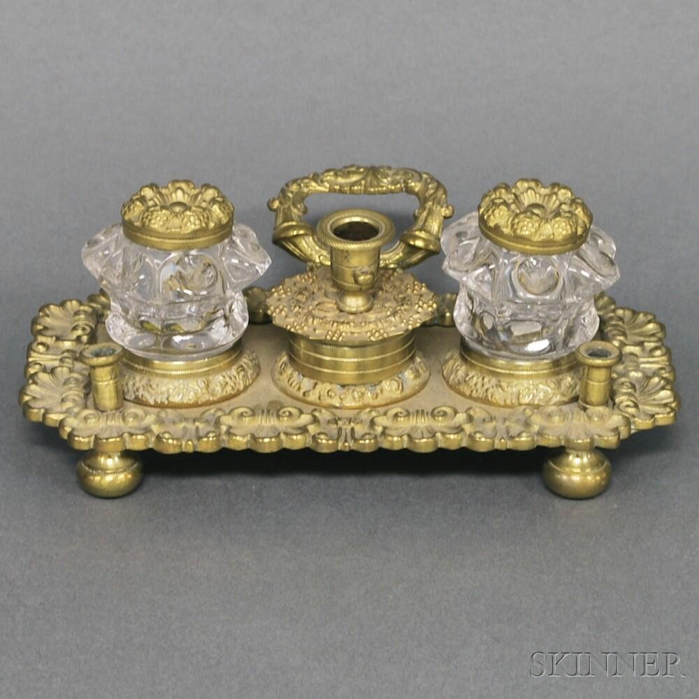 Cast Brass and Glass Inkstand