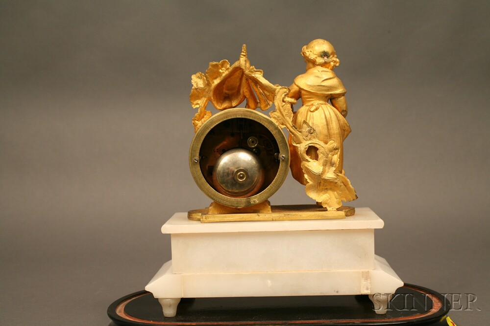 French Marble and Gilt Statuary Clock
