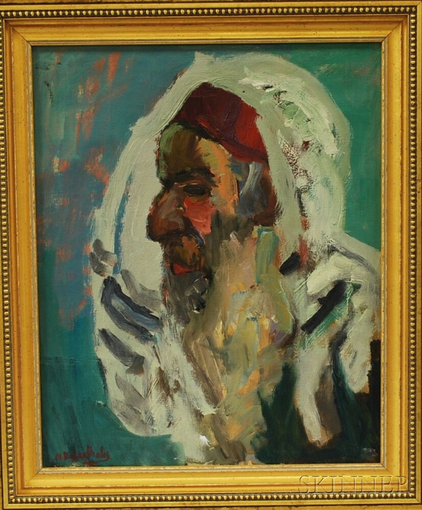 Moshe Rosenthalis (Lithuanian/Israeli, 1922-2008)      Profile of a Religious Elder, Probably a Rabbi.