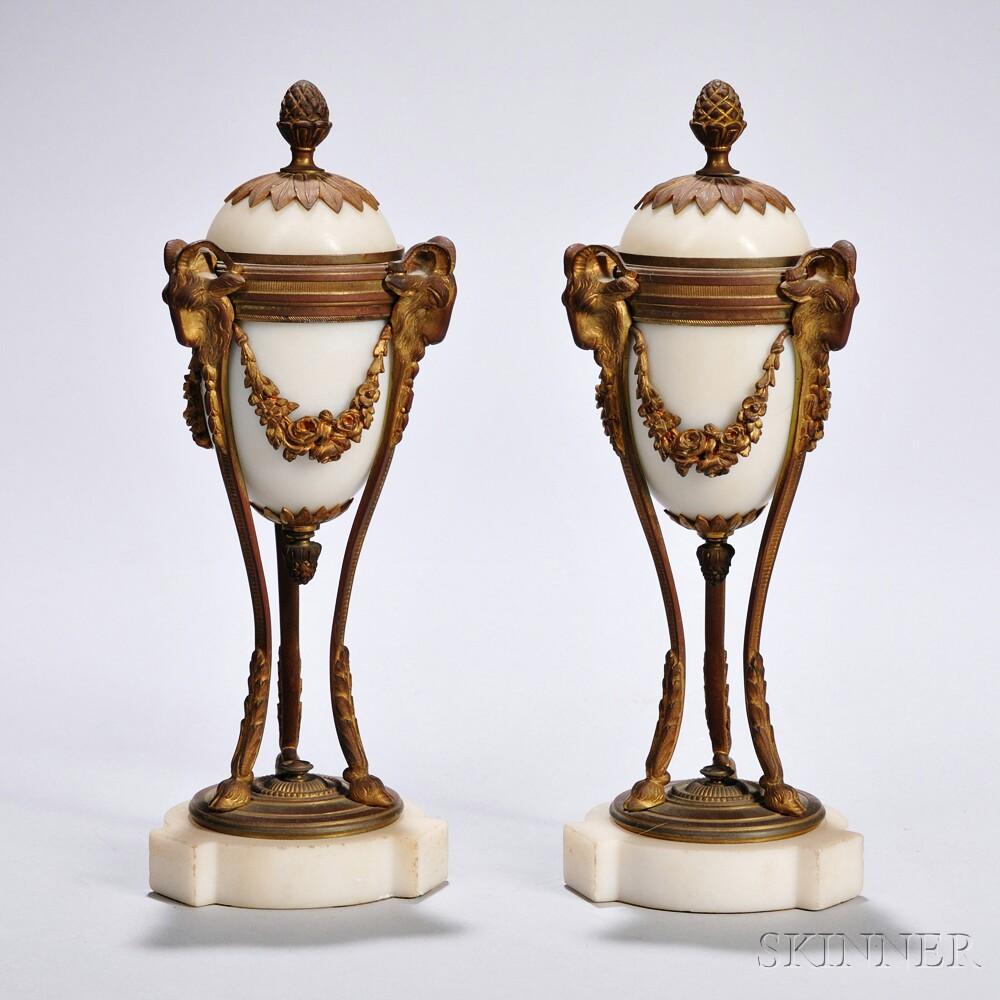 Pair of Gilt-bronze-mounted Alabaster Cassolettes