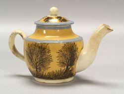 Small Mochaware Covered Teapot