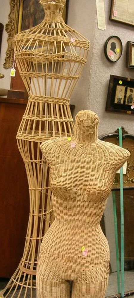 Two 1970s Era Woven Wicker Torso Mannequins.