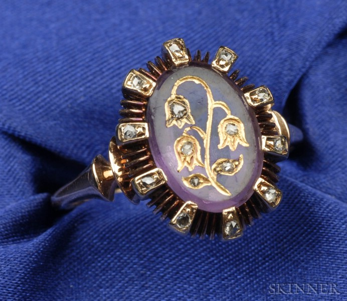 Antique 14kt Gold, Amethyst, and Diamond Ring