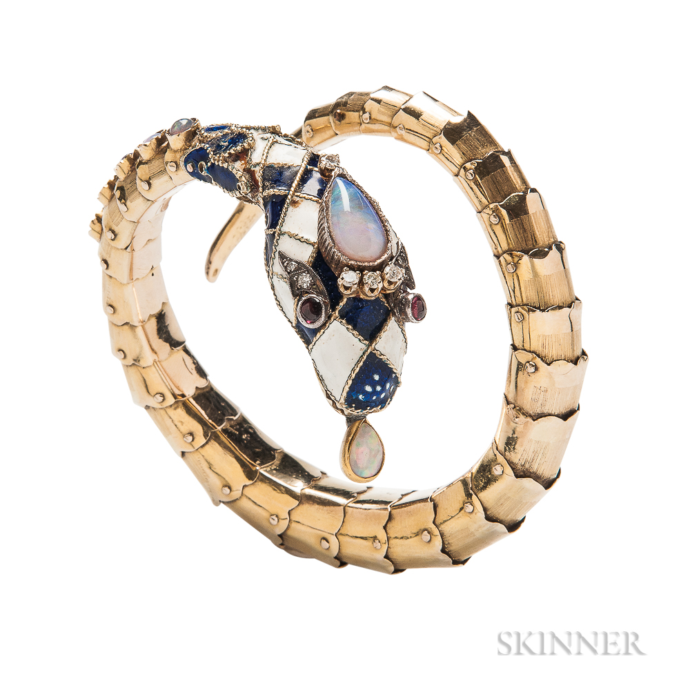 Gold, Enamel, and Opal Snake Bracelet
