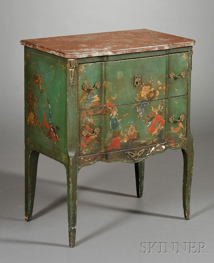 Louis XV/XVI Style Bronze-mounted and Marble-top Green Japanned Commode
