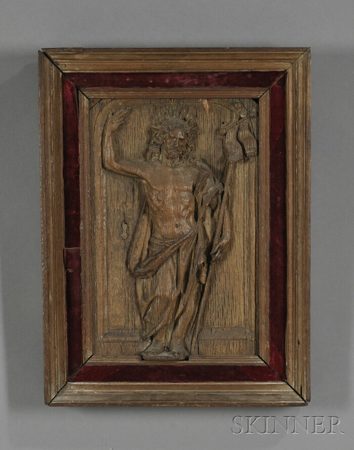 Framed Continental Carved Walnut Panel