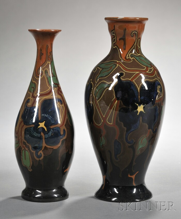 Two Gouda High Glaze Zenith Pottery Vases