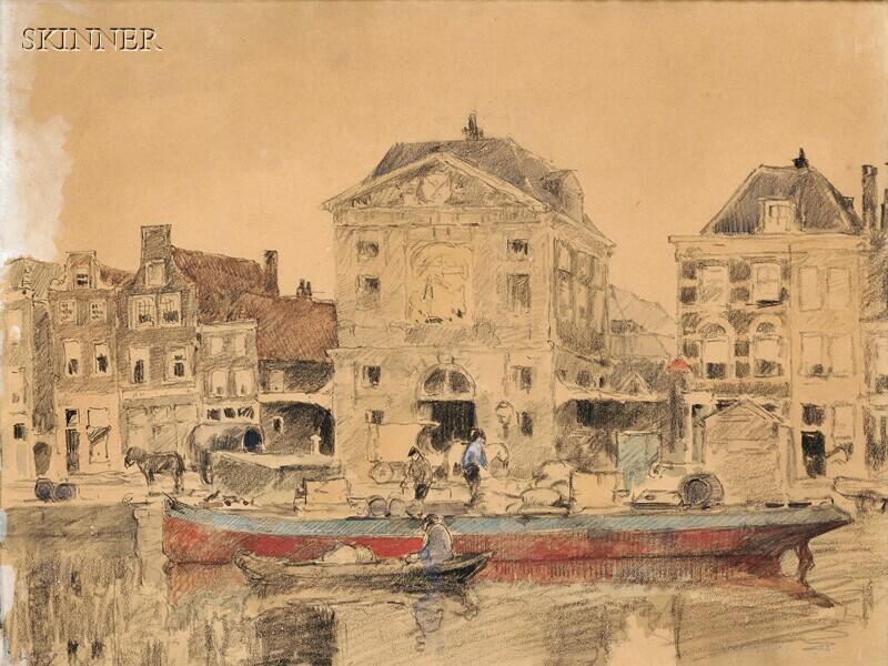 Cornelis Vreedenburgh (Dutch, 1880-1946)      Unloading a Barge on a Canal, Leiden