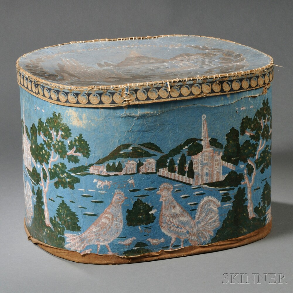 Blue Printed Wallpaper-covered Bandbox