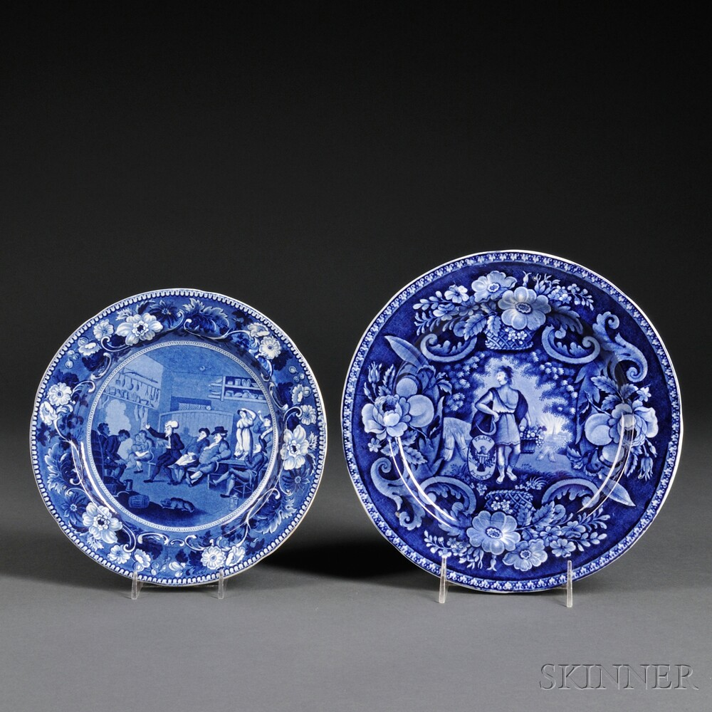 Two Transfer-decorated Staffordshire Pottery Plates