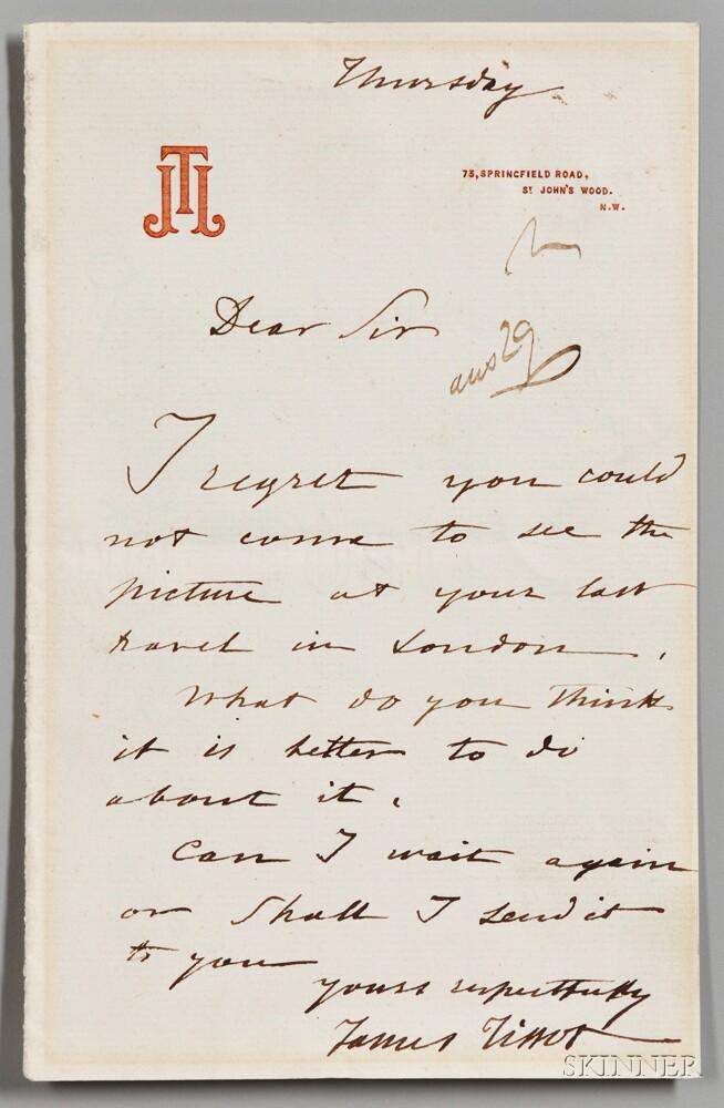 Tissot, James (1836-1902) Autograph Letter Signed, undated.