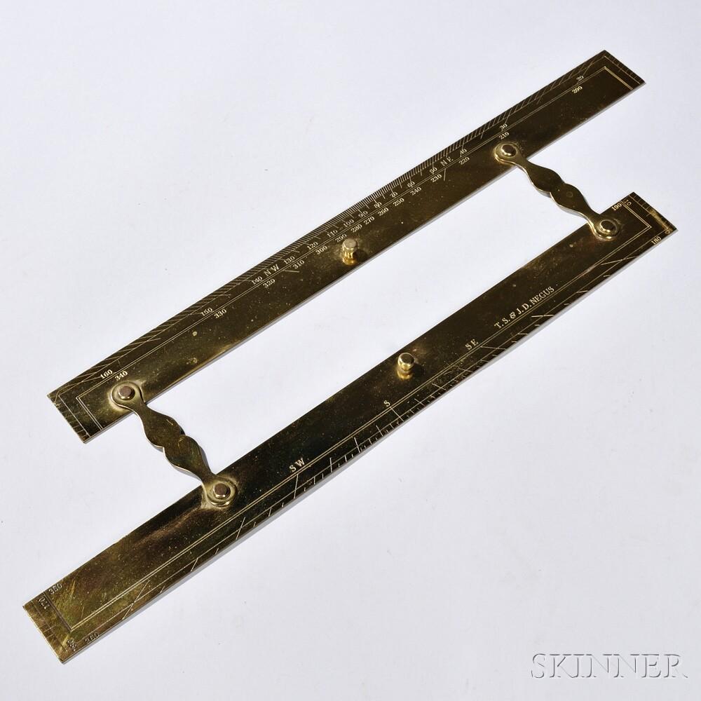 T.S. & J.D. Negus 18-inch Polished Brass Parallel Rule
