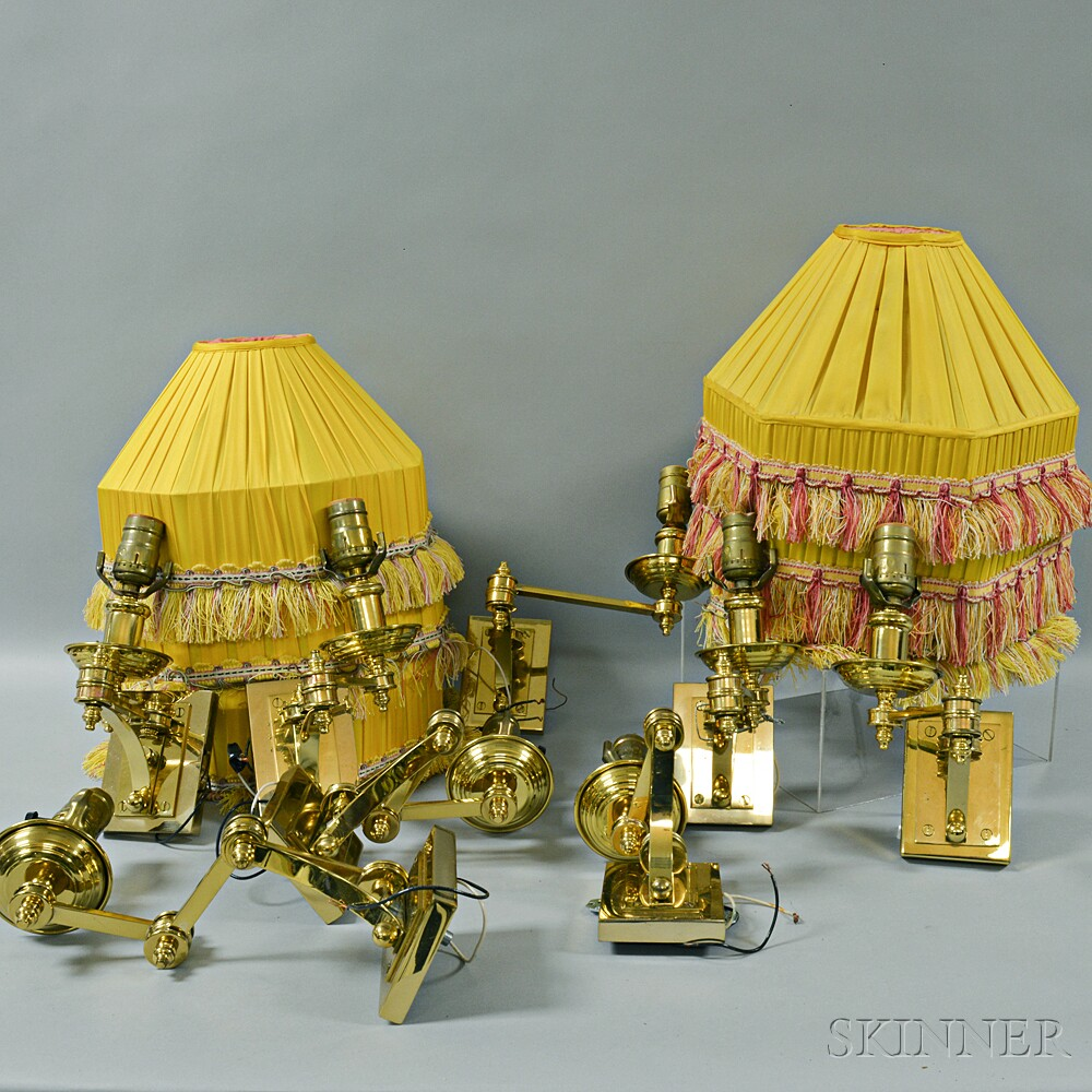 Set of Eight Brass Adjustable-arm Wall Sconces with Silk Shades.     Estimate $20-200