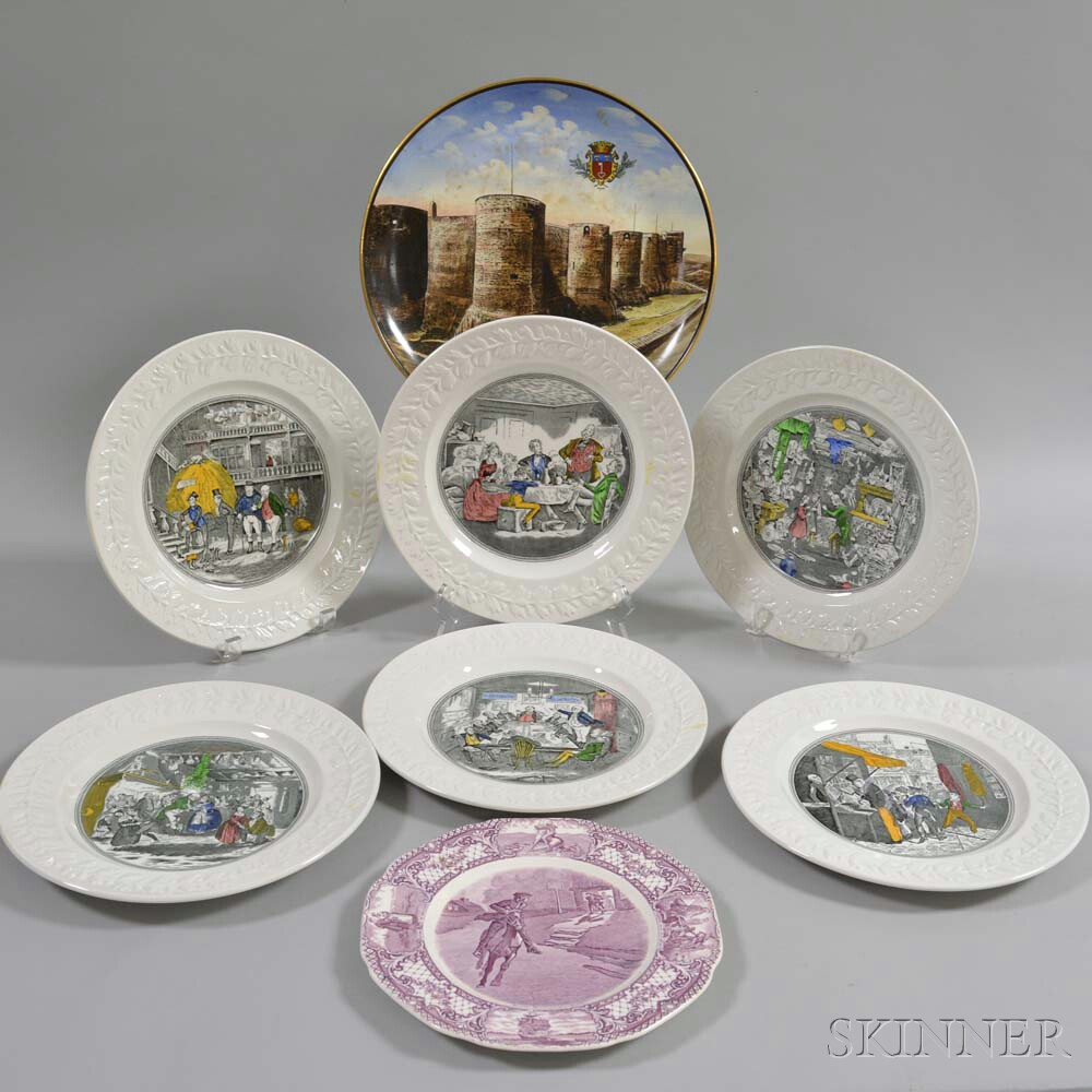 Six Adams Transfer-decorated Plates and Three Other Items