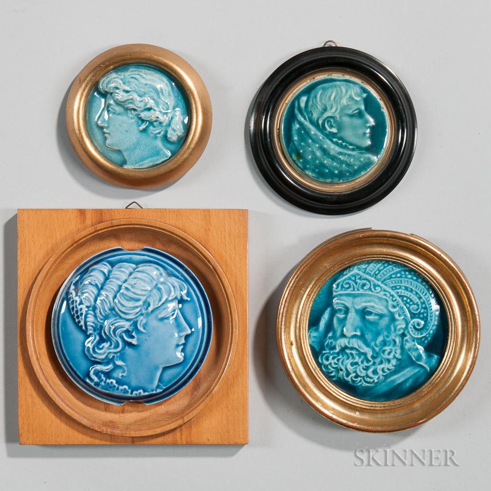Four Framed Trent Tile Company Art Pottery Tiles