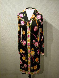 Pucci Silk Rose Pattern Long Sleeve Button-Down Dress.
