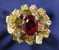 Contemporary 18kt Gold, Pink Tourmaline, and Diamond Ring