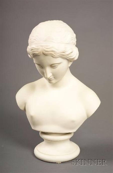 Parian Porcelain Bust of a Classical Maiden