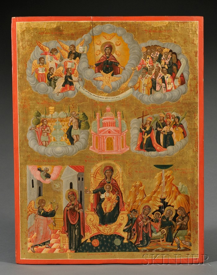 Greek Compositional Icon Depicting Scenes of the Mother of God