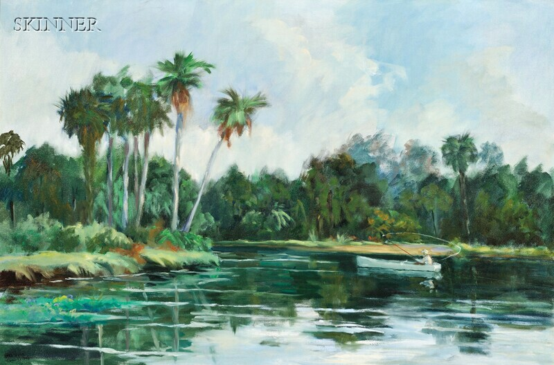 Anne Laverne Power Hardenbergh (American, 1915-1999)      Casting on the Waterway / A Florida View