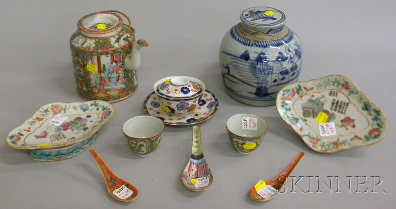 Nine Pieces of Chinese Porcelain Tableware and a Japanese Porcelain Covered Cup   and Saucer