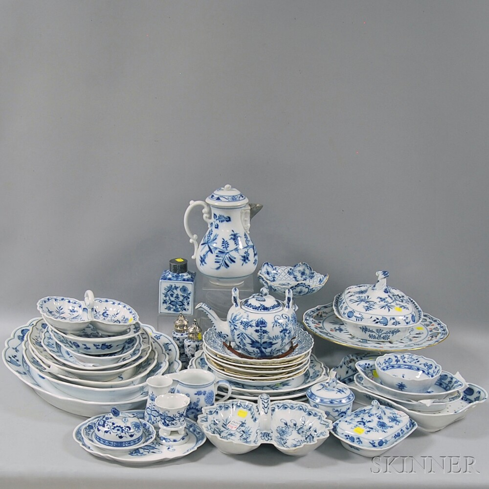 Meissen Blue Onion Pattern Porcelain Partial Dinner Service