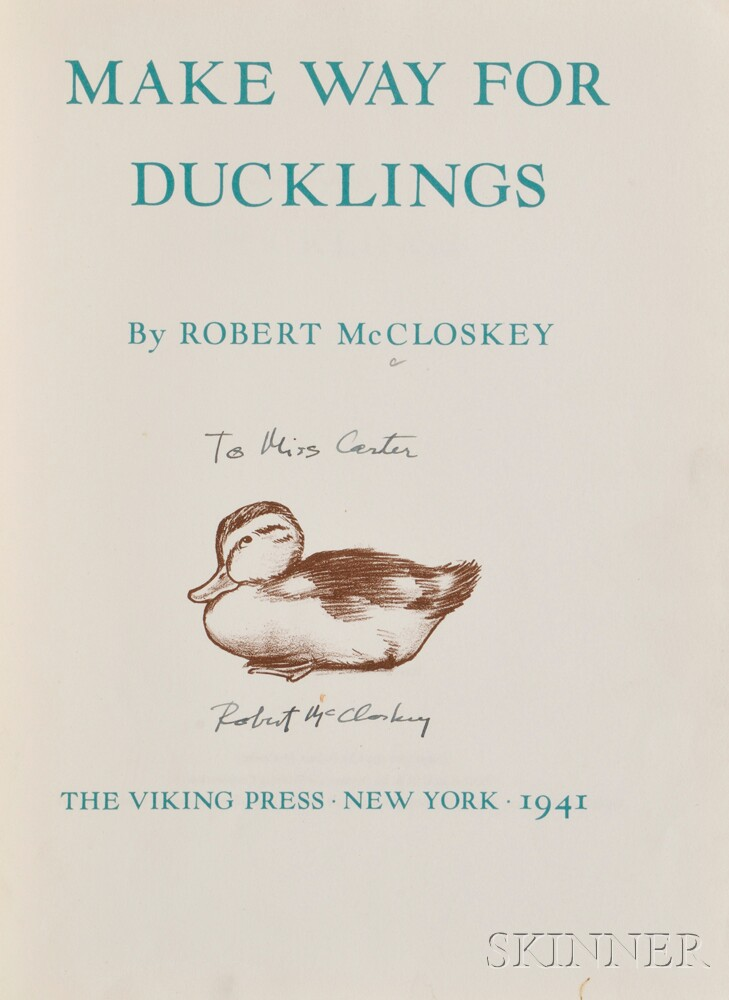 McCloskey, Robert (1914-2003) Make Way for Ducklings  , First Edition, Inscribed.