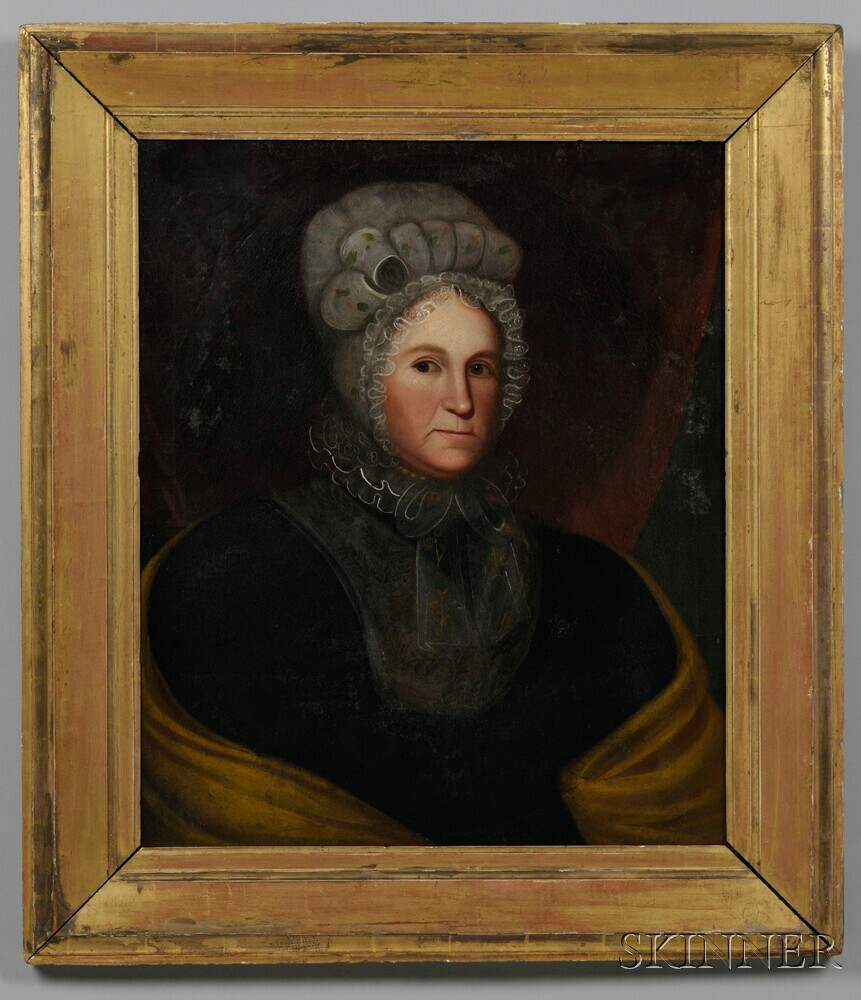 Attributed to Zedekiah Belknap (Massachusetts/New Hampshire/Connecticut, 1781-1858)    Portrait of a Woman with a Yellow Shawl