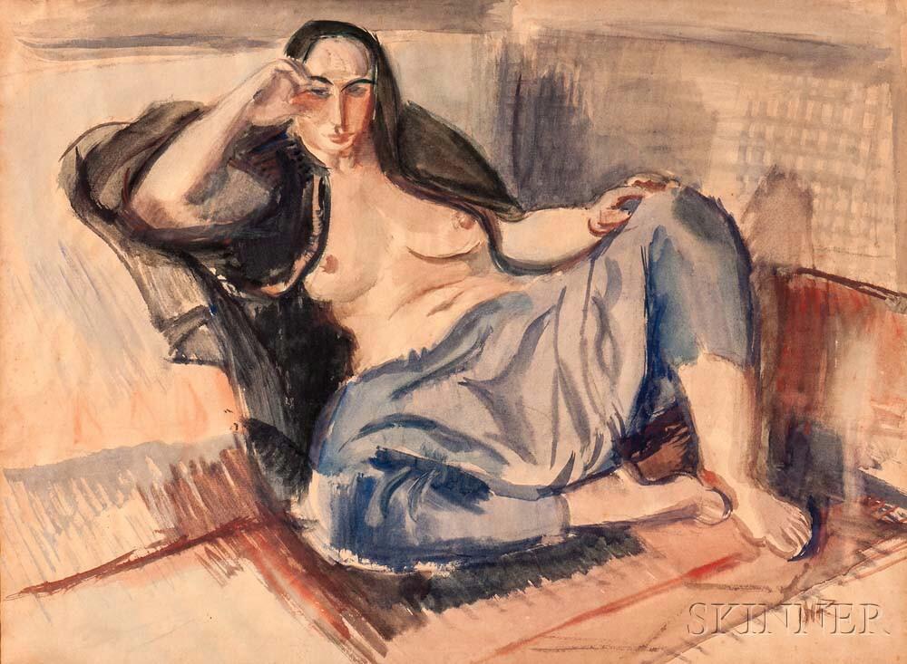 Iosif Iser (Romanian, 1881-1958)      Reclining Nude