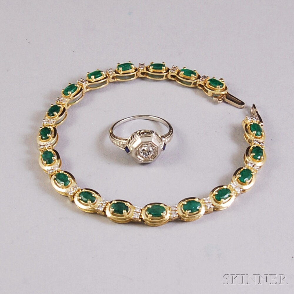 Two 14kt Gold and Gemstone Jewelry Items