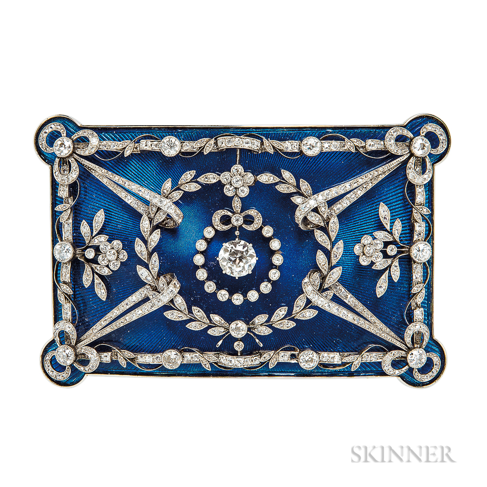 Enamel and Diamond Plaque Brooch