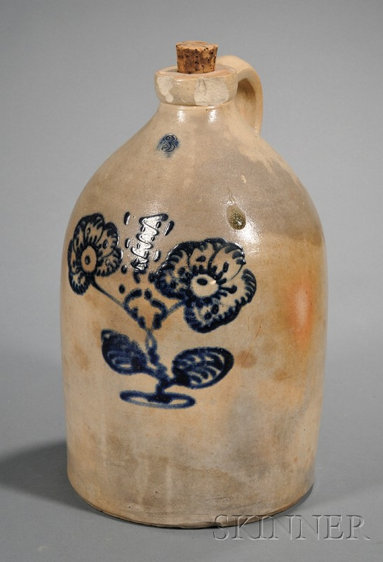 Three-gallon Stoneware Jug with Cobalt Flower Blossom Decoration