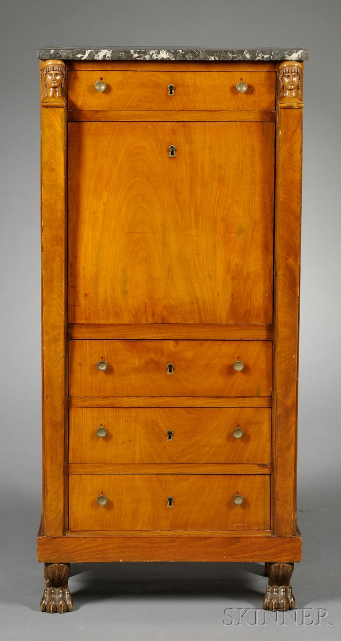 French Empire Style Marble-top and Walnut Small Secretaire a Abattant
