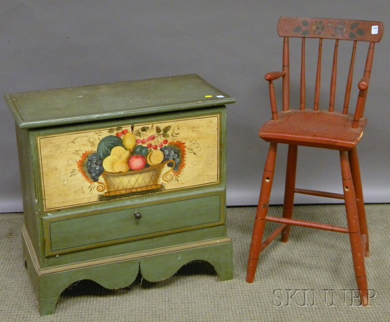 Cape Cod Polychrome Paint-decorated Childs Blanket Chest over Drawer and a Red-painted and Stencil-decorated Childs Rod-back High ...