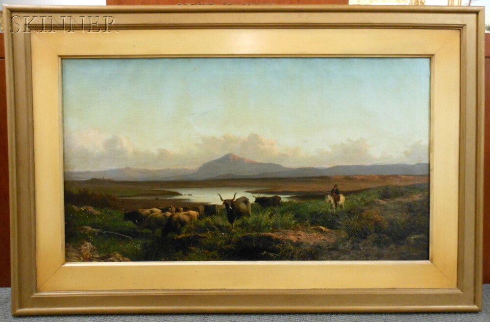 Achille Vertunni (Italian, 1826-1897)      Campagna Vista with Cattle and Horseman