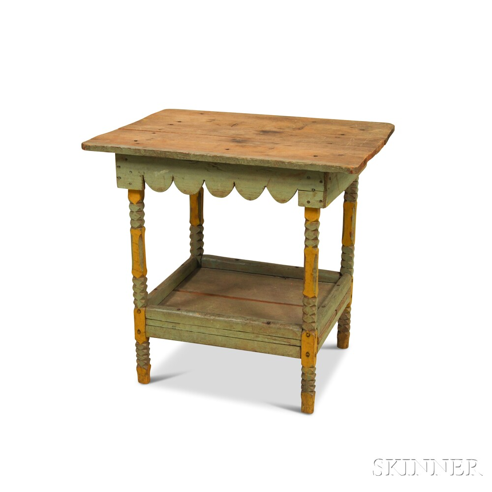 Primitive blue and yellow painted side table sale for Yellow painted table