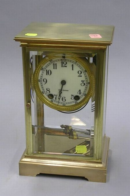Seth Thomas French-style Brass and Glass Mantle Clock