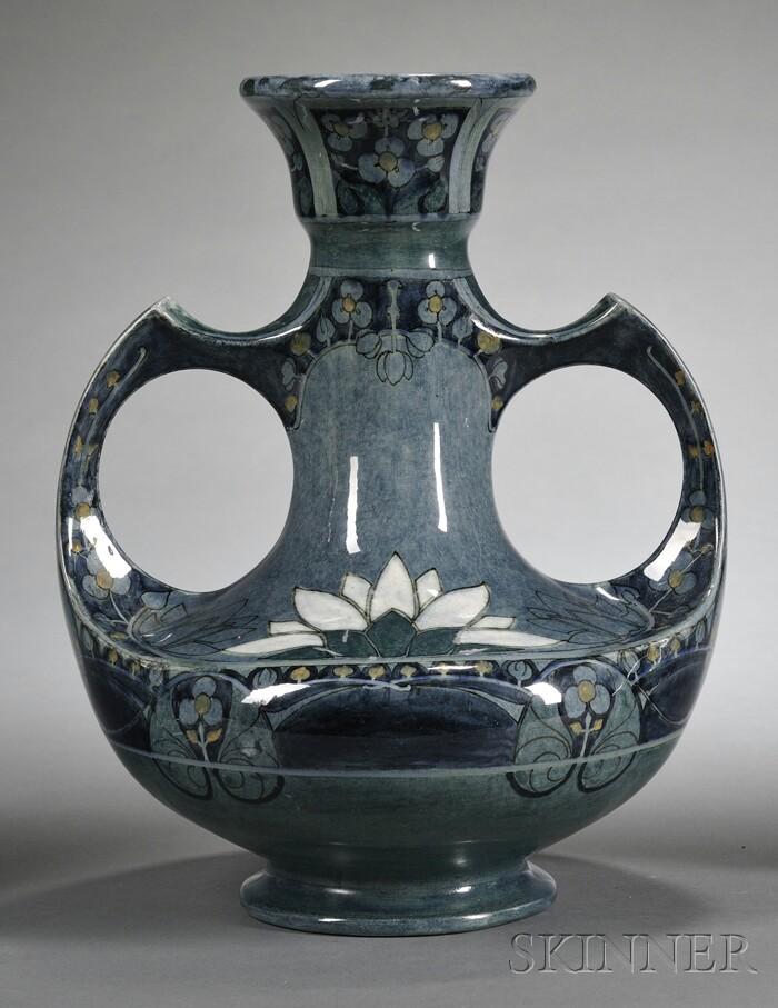 Utrecht High Glaze Two-handled Pottery Vase