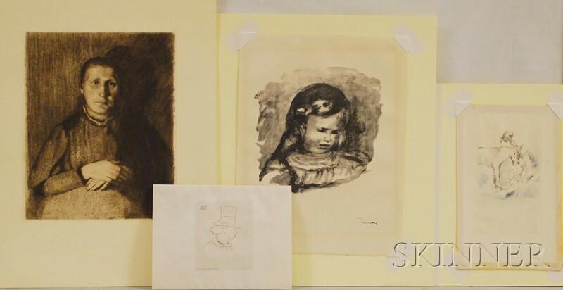 Four Unframed Works on Paper:      Kathe Kollwitz (German, 1867-1945), Woman with Folded Hands