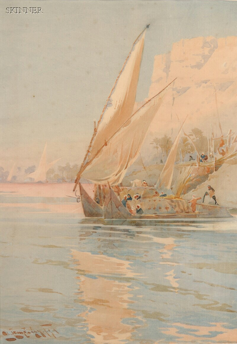 Augustus Osborne Lamplough (British, 1877-1930)      Two Views of Sailing Along the Nile:  Loading at a Cliffside Quay