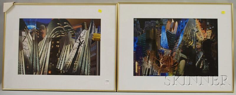 Two Framed Urban Landscape Photo Collages