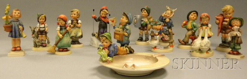 Thirteen Hummel/Goebel Ceramic Figures and Figural Groups and an Ashtray