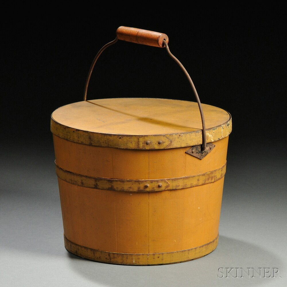 Shaker Yellow-painted Lidded Wooden Pail