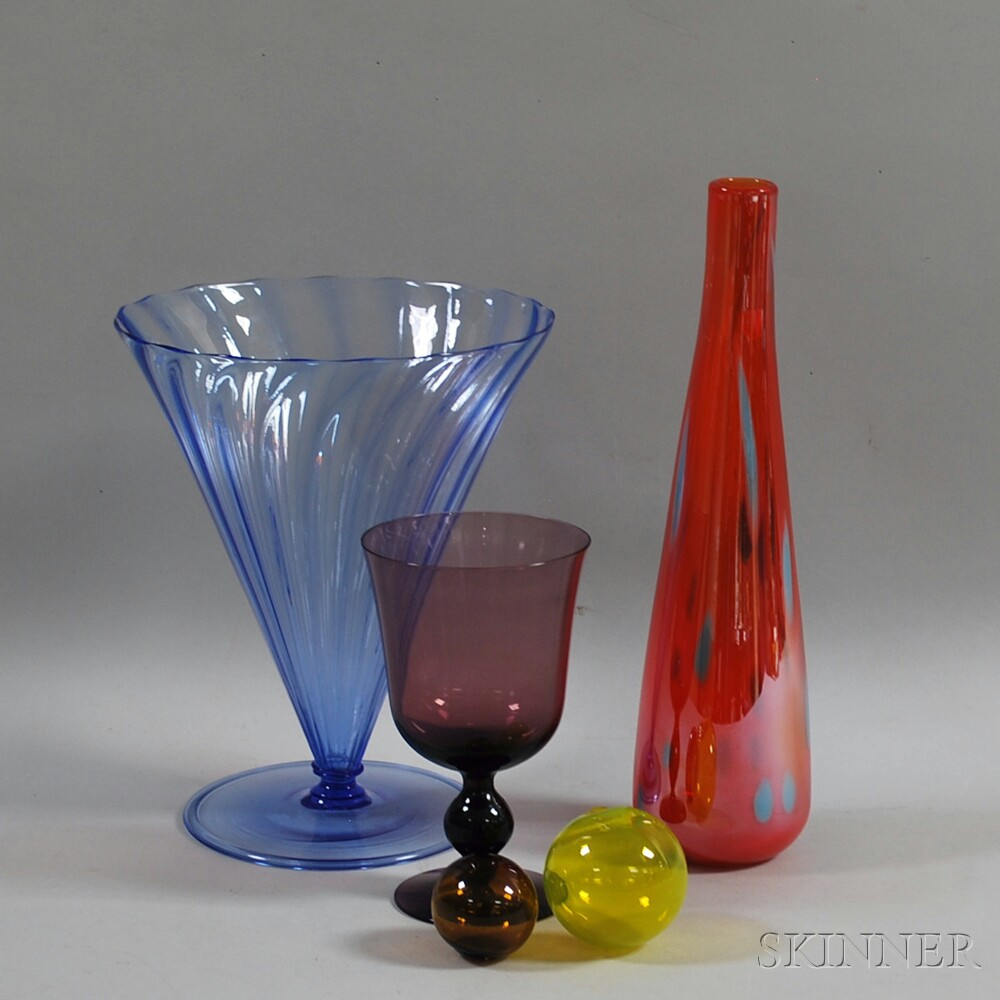 Five Colored Glass Items