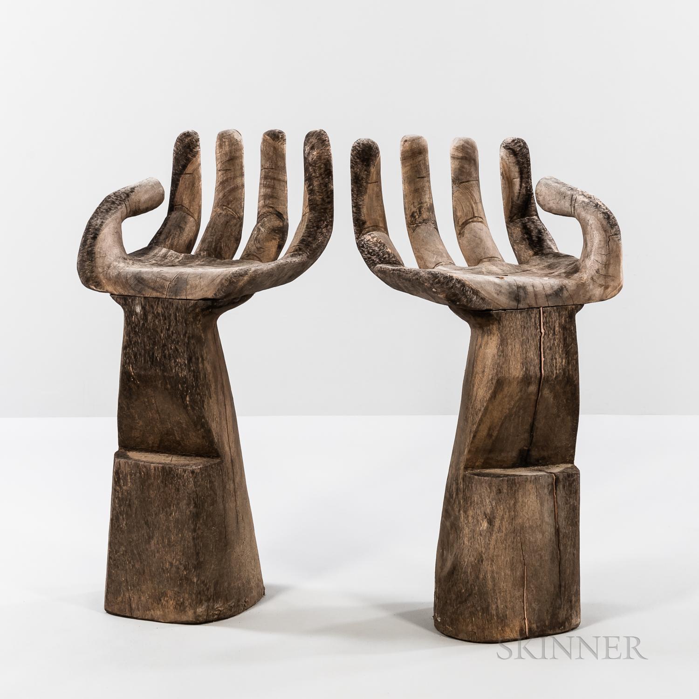 Pair of Pedro Freidberg-style Hand Barstools