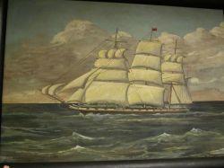 Framed Oil Portrait of The Packet Ship James Foster
