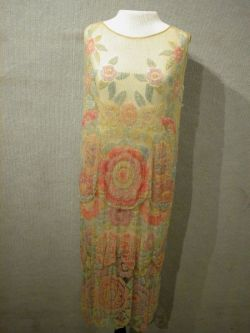 1920s Pink, Yellow and Blue Beaded Three-Tier Yellow Mesh Dress.